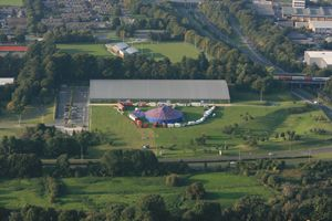 Our balloon flight takes us over the Milestones Museum in Basingstoke giving us an aerial picture of the circus too