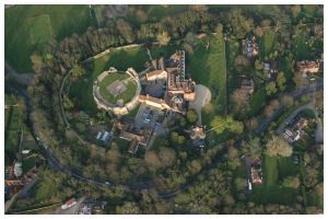 Farnham Castle in Farnham, Surrey from a hot air balloon basket.