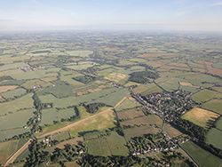 Aerial view of Wormingford Aldham and Ford Street on balloon flight near Colchester.