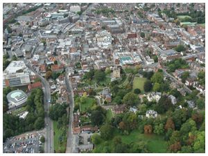 Aerial view of Guildford Castle and Town Centre