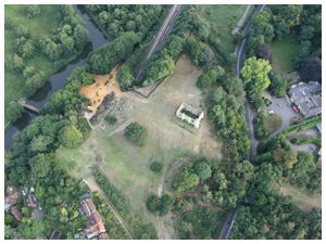 Aerial view of the ruins of St Catherine's Abbey Guildford