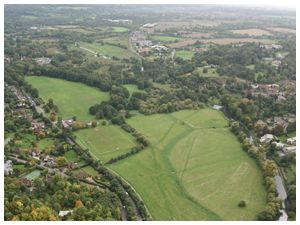 Aerial view of our hot air balloon launch site at Shalford Park Guildford soon after the balloon took off on its flight over Surrey