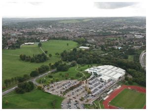Aerial view of Guildford Stoke Park and Spectrum Centre