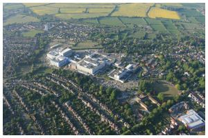 JOHN RADCLIFFE HOSPITAL OXFORD AERIAL VIEW BY HOT AIR BALLOON