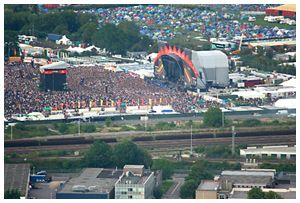 Aerial picture of the main Reading Festival