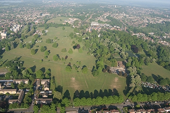 Looking back and taking an aerial picture of our balloon take off site at Prospect Park in Reading