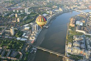 Aerial view of London balloon rides crossing the Thames